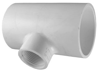 "3/4"" x 3/4"" x 1/2"" PVC Reducing Tee - SCH 40, Socket x Socket x FPT"