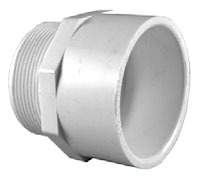 "3/4"" PVC DWV Male Straight Adapter - SCH 40, MPT x Socket"