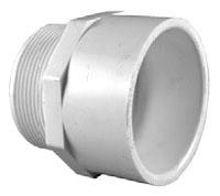 "1"" PVC DWV Male Straight Adapter - SCH 40, MPT x Socket"