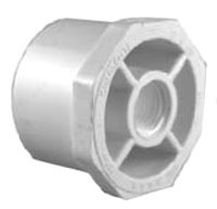 "1"" x 3/4"" PVC DWV Flush Reducing Bushing - SCH 40, Spigot x FPT"