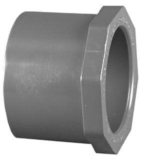 "1"" x 3/4"" PVC DWV Flush Reducing Bushing - SCH 80, Spigot x Socket"
