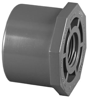 "1-1/4"" x 1"" PVC DWV Flush Reducing Bushing - SCH 80, Spigot x FPT"