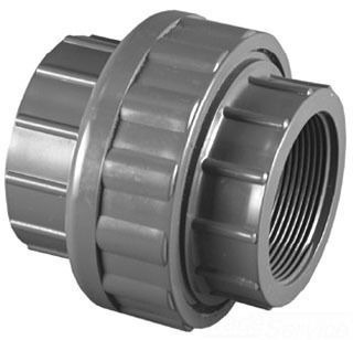 "1-1/2"" PVC Straight Union - SCH 80, FPT, with Viton O-Ring Seal"