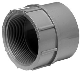 "1-1/2"" CPVC Female Straight Adapter - ChemDrain, SCH 40, FPT x Hub"