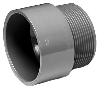 "1-1/2"" CPVC Male Straight Adapter - ChemDrain, SCH 40, MPT x Hub"