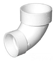 "3"" x 4"" PVC DWV Reducing Elbow - SCH 40, Hub, Closet"