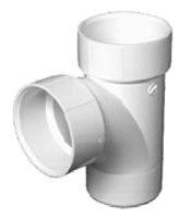 "4"" PVC Sanitary Straight Tee - Spigot x Hub x Hub, Street"