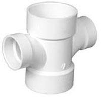 "2"" X 2"" X 1-1/2"" X 1-1/2"" 40 S PVC DWV Double Sanitary Reducing Tee"