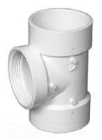 """2"""" Injection Molded PVC DWV Cleanout Flush Straight Tee"""