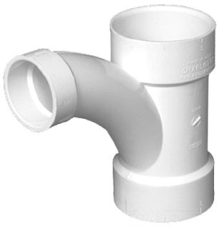 "4"" X 4"" X 3"" PVC DWV Combination Long Radius Tee-Wye"