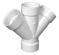 "1-1/2"" Injection Molded PVC DWV Double 45D Wye"