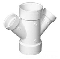 "3"" X 3"" X 2"" X 2"" Injection Molded PVC DWV Reducing Double 45D Wye"