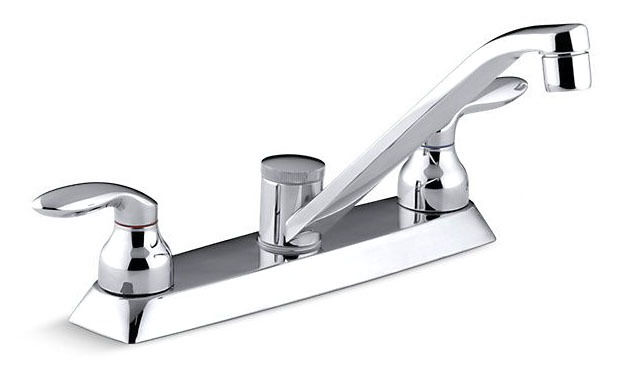Coralais Kitchen Sink Faucet Lever Polished Chrome