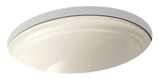 "20-1/2"" x 16-1/2"" Undermount Bathroom Sink - Devonshire, Almond, Vitreous China"
