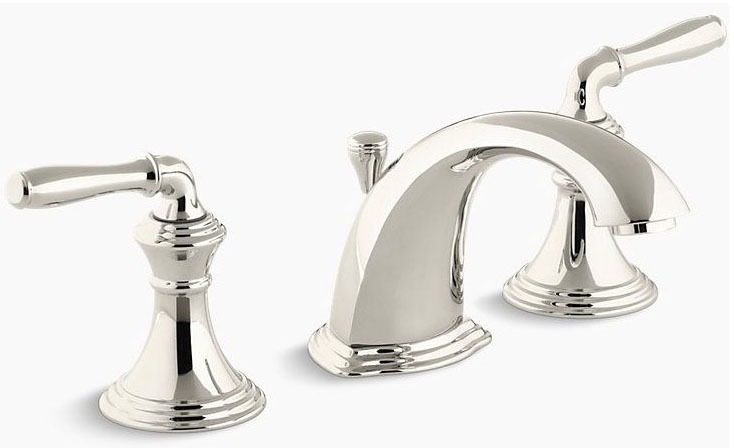 Devonshire Widespread Lavatory Faucet Lever Vibrant Polished Nickel