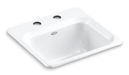 Top Mount Single Bowl Bar Sink - Northland, 2-Hole, White, Cast Iron
