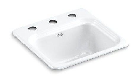 Top Mount Single Bowl Bar Sink - Northland, 3-Hole, White, Cast Iron