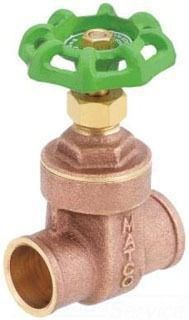 "1/2"" Brass Full Port Solid Wedge Gate Valve - Handwheel, Soldered, 200 psi WOG, 125 psi SWP"