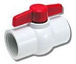 "1"" PVC Ball Valve - T-Handle, Solvent, 150 psi"
