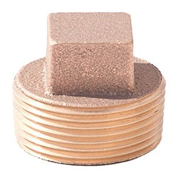 "3/4"" Brass Square Head Cored Plug - MPT, 125 psi, Lead-Free"