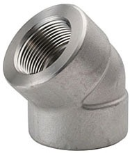 """2"""" Stainless Steel 45D Straight Elbow - FPT, 3000 psi"""