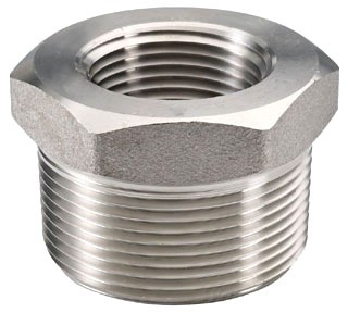 "1"" x 3/4"" Forged Stainless Steel Hex Head Reducing Bushing - MPT x FPT, 3000 psi, 316/316L Forged Stainless"