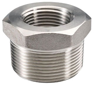 "1/2"" x 3/8"" Stainless Steel Hex Head Reducing Bushing - MPT x FPT"