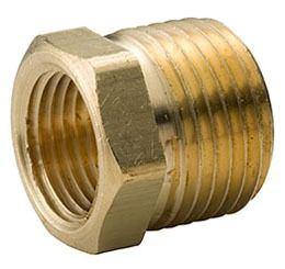 "3/8"" x 1/8"" Brass Hex Head Reducing Bushing - MPT x FPT, 125 psi, Yellow Brass"