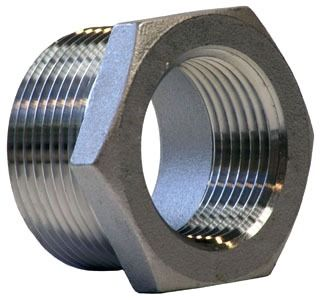 "2"" x 1"" Cast Stainless Steel Hex Head Reducing Bushing - MPT x FPT, 150 psi, 316 Cast Stainless"