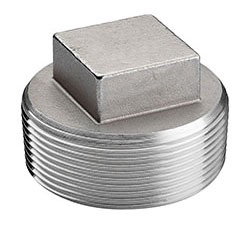 "4"" Stainless Steel Square Head Cored Plug - MPT, 150 psi, 304 Cast Stainless"