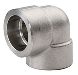"""3/4"""" Stainless Steel 90D Straight Elbow - Socket Weld, 3000 psi"""