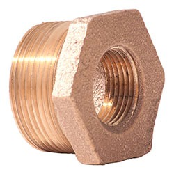 "1"" x 3/4"" Cast Brass Hex Head Reducing Bushing - MPT x FPT, 125 psi"