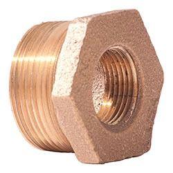 "1-1/2"" x 1"" Brass Hex Head Reducing Bushing - MPT x FPT, 125 psi"