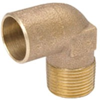 "1/2"" Bronze 90D Straight Elbow - C x MPT"