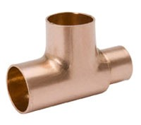 "1-1/4"" X 3/4"" X 1/2"" Wrot Copper Reducing Tee"
