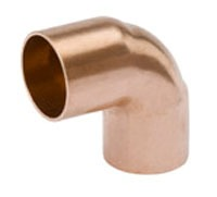 "1-1/4"" Wrot Copper 90D Elbow, Cleaned and Bagged - 1-3/8"" OD"