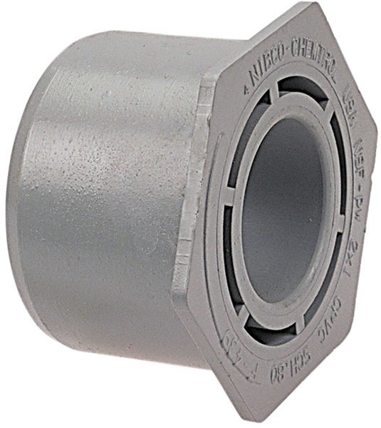"""1"""" X 3/4"""" Injection Molded CPVC Concentric Outside Hex Head Flush Reducing Bushing"""