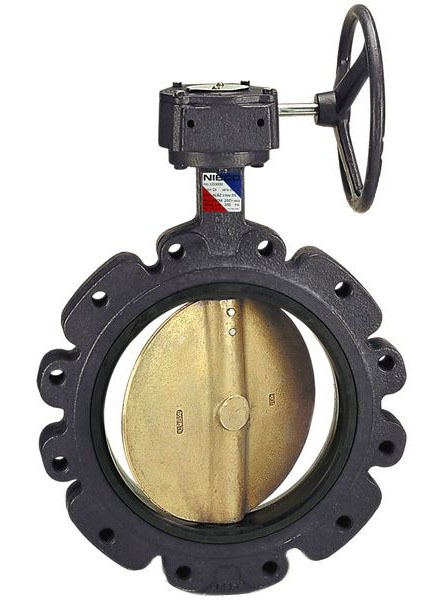 "14"" Ductile Iron Gear Operated Butterfly Valve - Extended Neck / Lug, Grooved, 125/250 psi, 150 psi WOG"