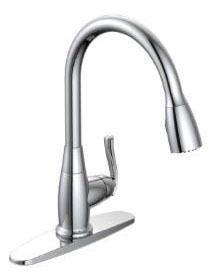Kitchen Faucet with Pull-Down Spout & Single Lever Handle - Builder, Chrome Plated, Deck Mount, 1.8 GPM