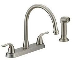 Kitchen Faucet with Gooseneck Spout & Two Lever Handle - Builder, Stainless Steel, Deck Mount, 1.5 GPM