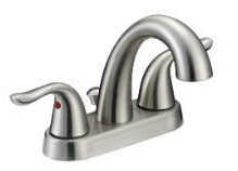 Bathroom Sink Faucet with Two Lever Handle - Brushed Nickel, Deck Mount, 1.2 GPM