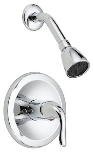Shower Trim with Single Lever Handle - Builder, Chrome Plated, Wall Mount, 2 GPM