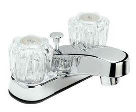 Bathroom Sink Faucet with Two Round Handle - Chrome Plated, Deck Mount, 1.2 GPM