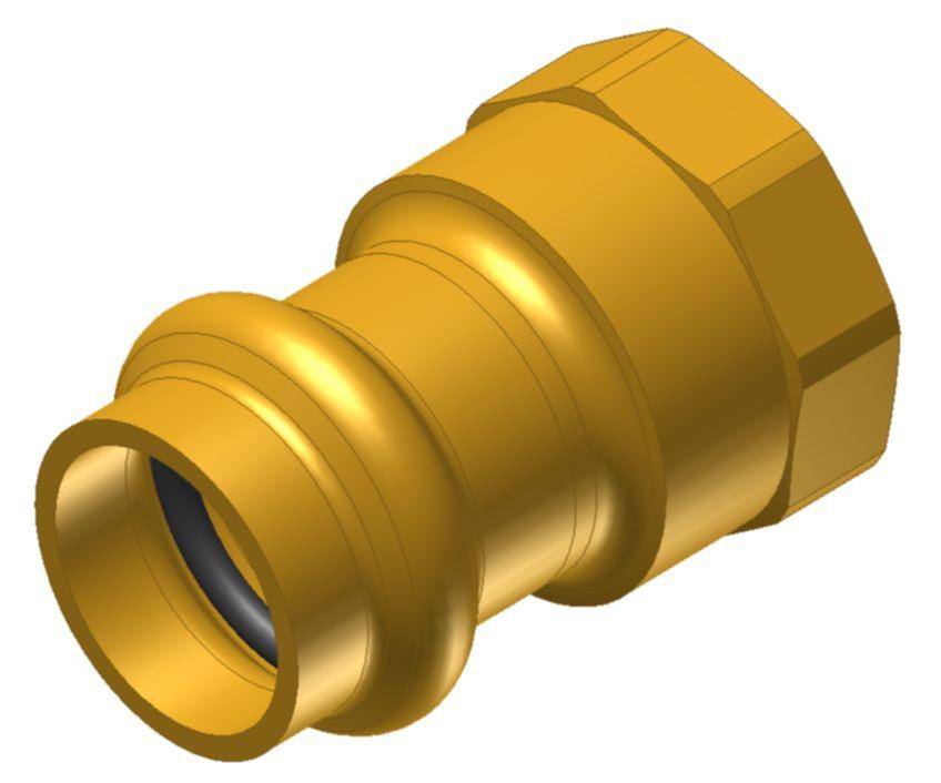 "3/4 X 3/4 X 1/2"" Brass Female Straight Adapter"