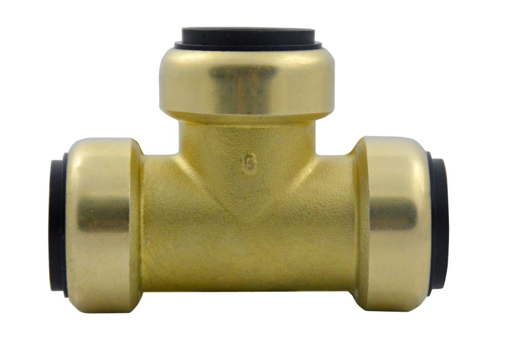"1"" Brass Straight Tee - TECTITE, Push-Fit"