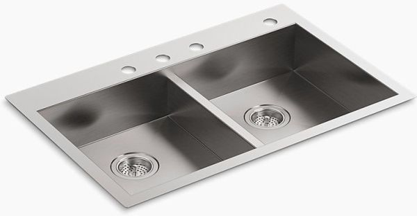 Vault Double Equal Sink 4 Hole Stainless Steel