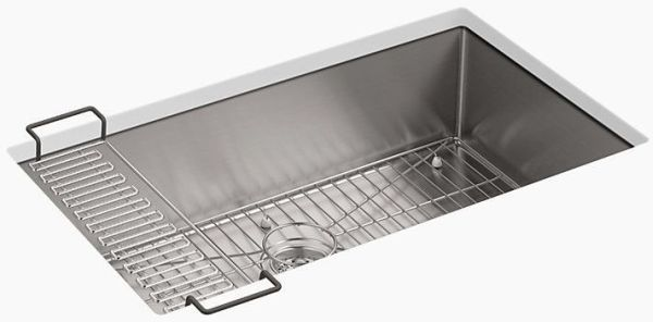 Strive U C Large Basin Sink With Rack Stainless Steel