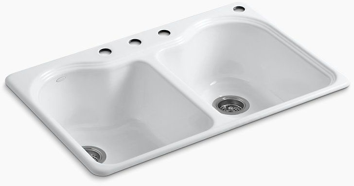 Hartland Double Equal Self-Rimming Sink 4 Hole White