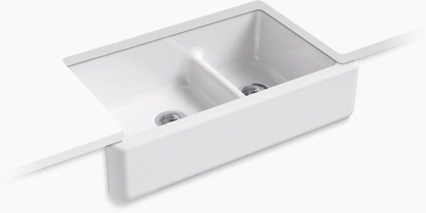"Whitehaven, Smart Divide Undermount Kitchen Sink, Enameled Cast Iron 35-11/16"" X 21-9/16"" X 9-5/8"""