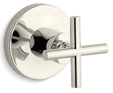 1-Cross Handle Faucet Transfer Valve Trim - Purist, Vibrant Polished Nickel, Brass